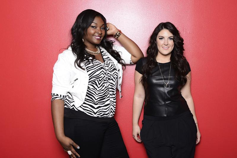 "This undated publicity photo released by Fox shows, Candice Glover, left, and Kree Harrison from ""American Idol: The Final 2."" The current 12th season is set to conclude Thursday, May 16, 2013, with a showdown between the 23-year-old R&B vocalist Glover of St. Helena Island, S.C., and the 22-year-old country crooner Harrison of Woodville, Texas. (AP Photo/Fox, Michael Becker)"