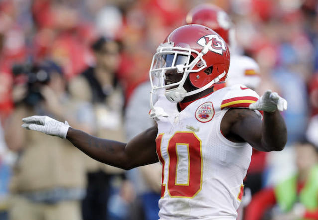"<a class=""link rapid-noclick-resp"" href=""/nfl/players/29399/"" data-ylk=""slk:Tyreek Hill"">Tyreek Hill</a> is sure to spread his wings and fly this season. (AP)"