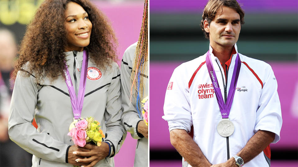 Serena Williams and Roger Federer, pictured here at the Olympics.