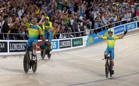 Track Cycling - Gold Coast 2018 Commonwealth Games - Men's 4000m Team Pursuit Finals - Anna Meares Velodrome - Gold Coast, Australia - April 5, 2018. Alex Porter, Sam Welsford, Leigh Howard and Kelland O'Brien of Australia in action. REUTERS/Paul Childs