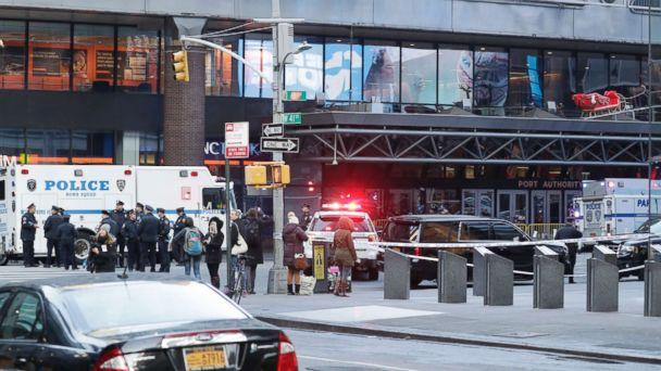 PHOTO: Police activity outside the Port Authority Bus Terminal following reports of a confirmed explosion inside an underground tunnel in the building in New York City, Dec. 11, 2017. (Jason Szenes/EPA)