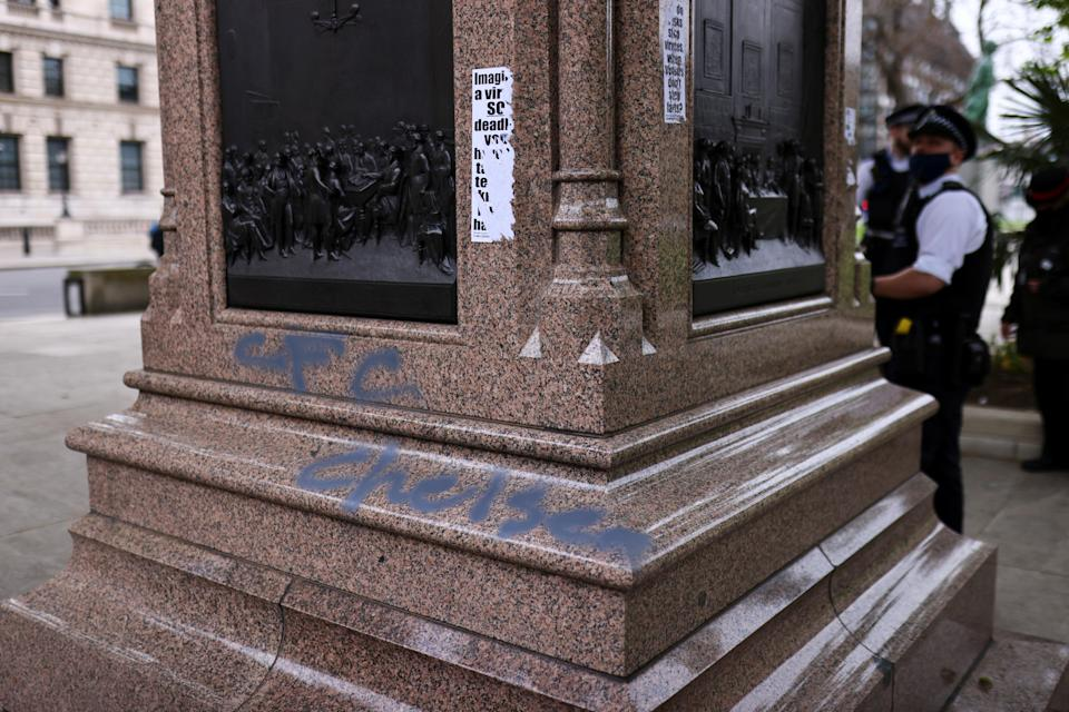 Graffiti seen on a statue after Chelsea won the Champions League (REUTERS)