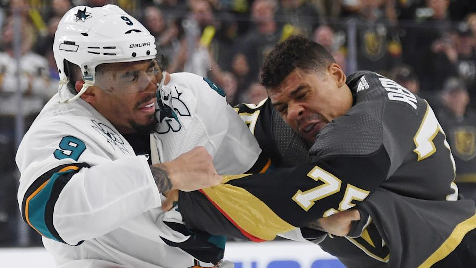 LAS VEGAS, NEVADA - APRIL 14: Evander Kane #9 of the San Jose Sharks and Ryan Reaves #75 of the Vegas Golden Knights fight in the third period of Game Three of the Western Conference First Round during the 2019 NHL Stanley Cup Playoffs at T-Mobile Arena on April 14, 2019 in Las Vegas, Nevada. The Golden Knights defeated the Sharks 6-3 to take a 2-1 lead in the series. (Photo by Ethan Miller/Getty Images)