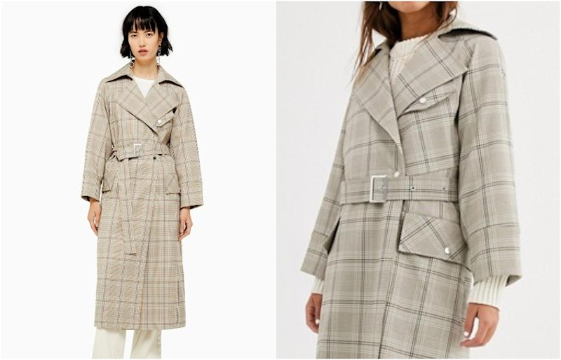 Topshop trench coat in check