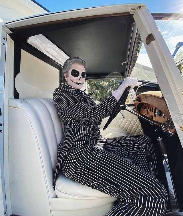 """<p>The momager took inspiration from Time Burton's 1993 film The Nightmare Before Christmas and came dressed as Jack Skellington.</p><p><a href=""""https://www.instagram.com/p/CHBcHY2p584/"""" rel=""""nofollow noopener"""" target=""""_blank"""" data-ylk=""""slk:See the original post on Instagram"""" class=""""link rapid-noclick-resp"""">See the original post on Instagram</a></p>"""