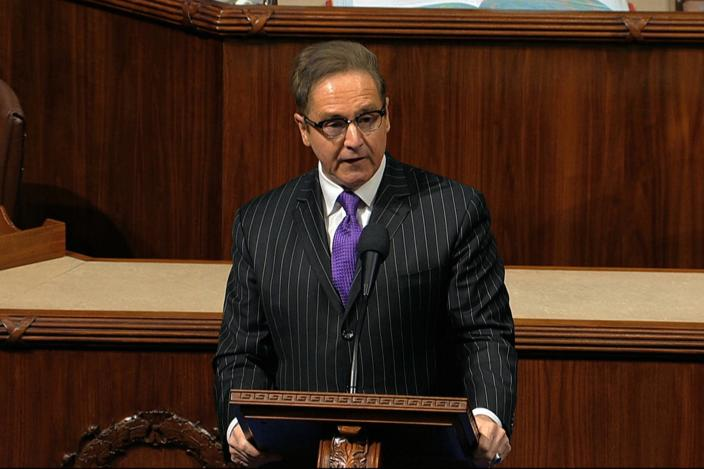Rep. Brian Higgins, D-N.Y., speaks on the House floor at the Capitol in Washington, Wednesday, Dec. 18, 2019.