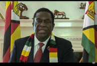 In this UNTV image, Emmerson Dambudzo Mnangagwa, President of Zimbabwe, speaks in a pre-recorded video message during the 75th session of the United Nations General Assembly, Thursday, Sept. 24, 2020, at UN headquarters. The U.N.'s first virtual meeting of world leaders started Tuesday with pre-recorded speeches from heads-of-state, kept at home by the coronavirus pandemic. (UNTV via AP)