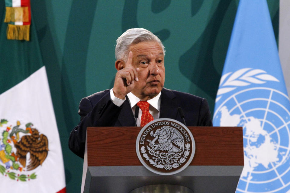 MEXICO CITY, MEXICO MARCH 29: Mexican President Andres Manuel López Obrador speaks during a briefing morning press conference who talk about the murder of Salvadoran , Victoria Esperanza Salazar, in Tulum, Quintana Roo, by four municipal police officers during an arrest. On March 29, 2021 in Mexico City, Mexico. (Photo credit should read Luis Barron / Eyepix Group/Barcroft Media via Getty Images)