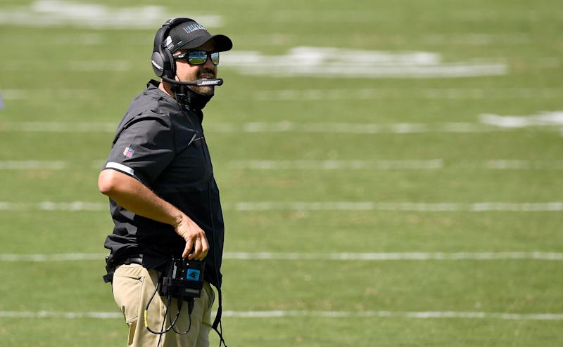 Panthers coach Matt Rhule lost his first game as NFL head coach. (Photo by Grant Halverson/Getty Images)