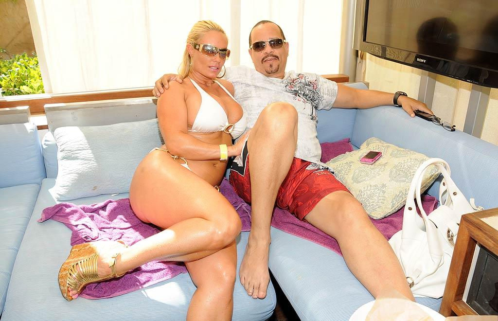 "Rapper/actor Ice-T and his voluptuous wife -- and reality show co-star -- CoCo also took in the concert from their comfy cabana. CoCo tweeted out a photo of herself taking a dip and wrote, ""I think I'm the only one that wears heels in the pool..Coco style!"" In Vegas, we wouldn't be so sure ... <a href=""http://www.infdaily.com"" target=""new"">INFDaily.com</a> - September 4, 2011"