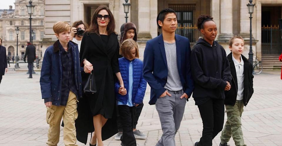 Jolie pictured with all six of her children in January 2018.