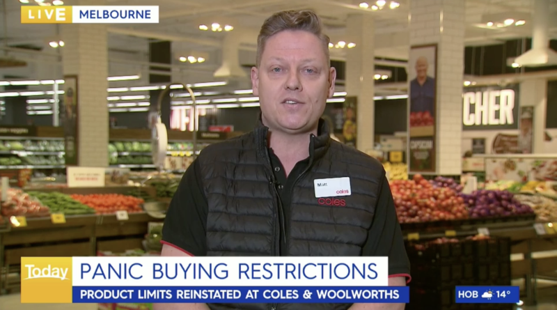 Coles' chief operating officer, Matt Swindells is calling for customers to remain calm, as the supermarket does have enough stock for everyone. Source: Nine News