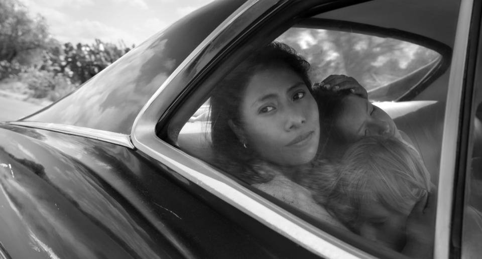 "This image released by Netflix shows Yalitza Aparicio in a scene from the film ""Roma,"" by filmmaker Alfonso Cuaron. The film is nominated for an Oscar for best picture and best foreign film. The 91st Academy Awards will be held on Feb. 24. (Alfonso Cuarón/Netflix via AP)"