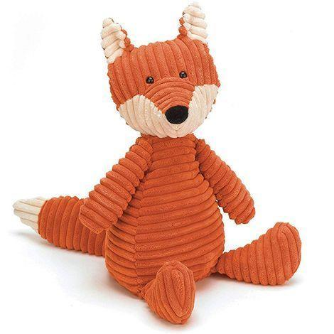 """<p><strong>Jellycat</strong></p><p>amazon.com</p><p><strong>$25.00</strong></p><p><a href=""""http://www.amazon.com/dp/B00CZ21AJG/?tag=syn-yahoo-20&ascsubtag=%5Bartid%7C10055.g.29269466%5Bsrc%7Cyahoo-us"""" rel=""""nofollow noopener"""" target=""""_blank"""" data-ylk=""""slk:Shop Now"""" class=""""link rapid-noclick-resp"""">Shop Now</a></p><p>With rumply, corduroy-like ripples, the baby will love to give this sweet, soft fox a squeeze. (Just remember to <a href=""""https://www.goodhousekeeping.com/childrens-products/child-safety-product-reviews/a27276000/crib-bumpers-safety-alternatives/"""" rel=""""nofollow noopener"""" target=""""_blank"""" data-ylk=""""slk:keep it out of the crib"""" class=""""link rapid-noclick-resp"""">keep it out of the crib</a>.) </p>"""