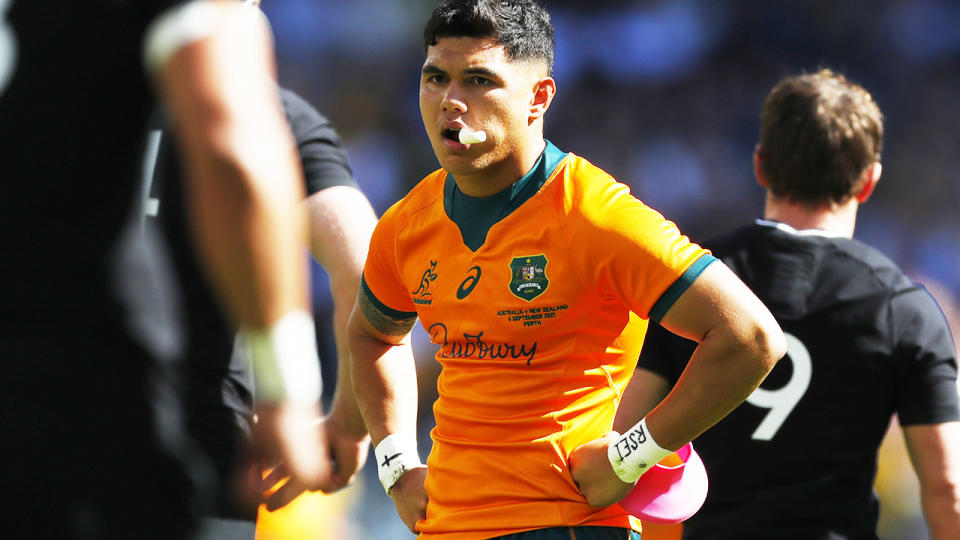 Noah Lolesio, pictured here after the Wallabies' loss to the All Blacks in Perth.