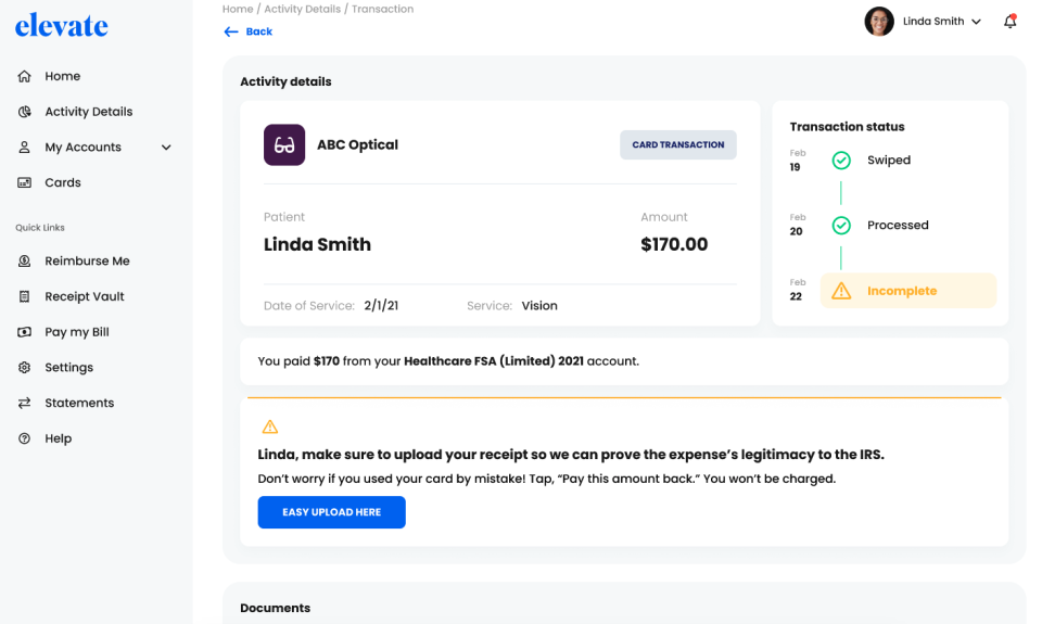 Elevate consumer directed benefit dashboard