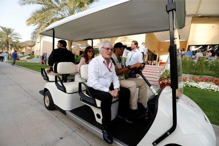 Formula One - F1 - Bahrain Grand Prix - Sakhir, Bahrain - 14/04/17 - Formal Formula One Supremo Bernie Ecclestone arrives at Bahrain International Circuit after the first practice session of the Bahrain F1 Grand Prix. REUTERS/Hamad I Mohammed