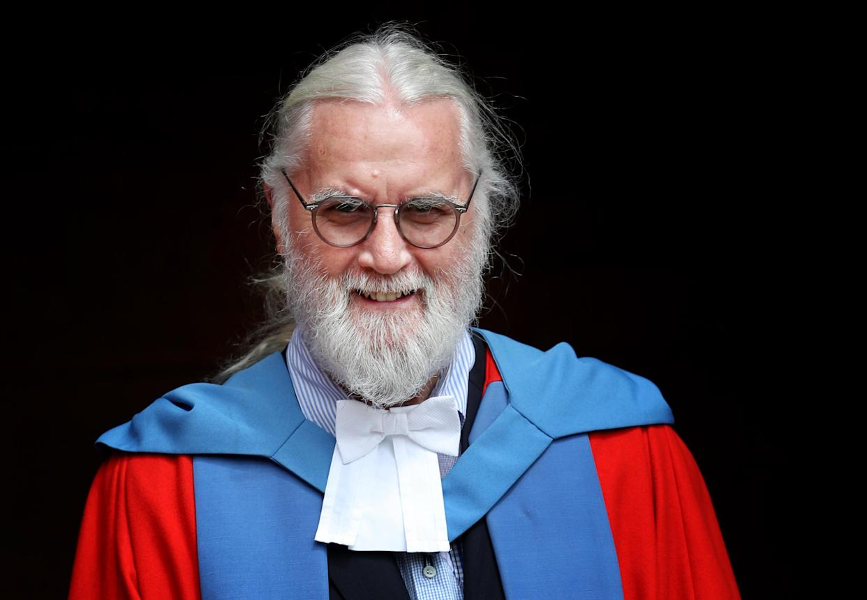 Sir Billy Connolly after he received his Honorary Doctorate degree from the University of Strathclyde in Glasgow.