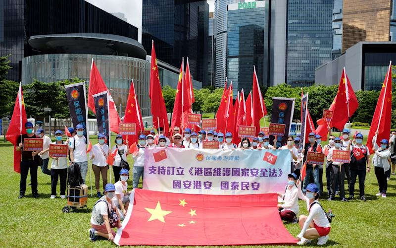 Pro-Chinese supporters gather at Tamar Park to show support for the newly adopted Law of the People's Republic of China on Safeguarding National Security in the Hong Kong Special Administrative Region - China News Service/China News Service