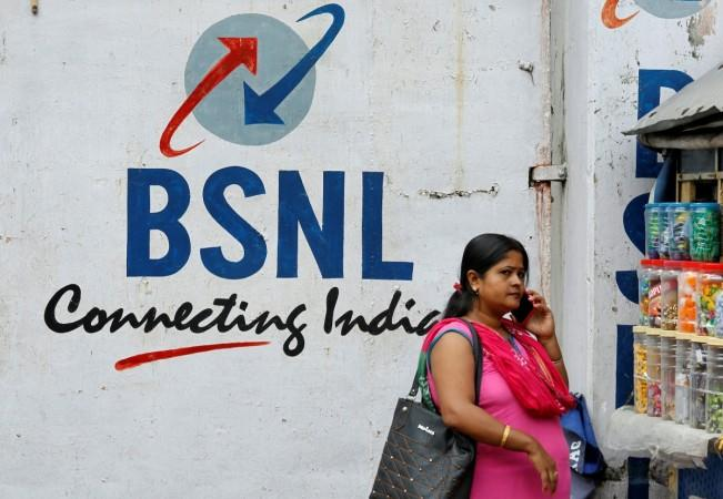 Logo of Bharat Sanchar Nigam Ltd (BSNL) painted on a wall outside its office in Kolkata