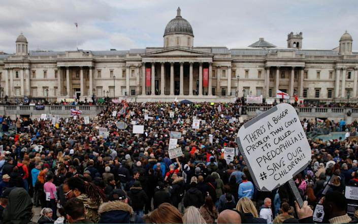 Demonstrators attend a Resist and Act for Freedom anti-mask rally at Trafalgar Square - Hollie Adams /Getty Images Europe