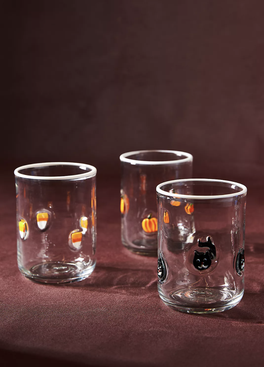 Halloween Glasses in black cats, candy corn, and pumpkins