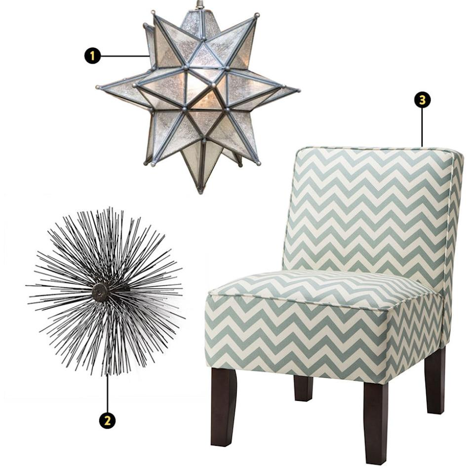 """<p><strong><em>1. Pottery Barn Olivia Star Pendant, $159, <a rel=""""nofollow"""" href=""""http://www.potterybarn.com/products/1445626/?catalogId=77&sku=1445626&bnrid=3380801&cm_ven=Google_PLA&cm_cat=Shopping&cm_pla=Feed&cm_ite=Google%20Base-1445626&kwid=productads-adid%5e43832183011-device%5ec-plaid%5e62583463945-sku%5e1445626-adType%5ePLA&gclid=Cj0KEQjwwpm3BRDuh5awn4qJpLwBEiQAATTAQWdLjnTFgMT5jVcjJntZvr7ecf2H-1RDCur12T20LM0aAoz68P8HAQ"""">potterybarn.com</a>; 2. CB2 Porcupine Wall Hanging, from $50, <a rel=""""nofollow"""" href=""""http://www.cb2.com/all-accessories/accessories/porcupine-wall-hangings/f11673"""">cb2.com</a>; 3. Target Burke Slipper Chair, $96, <a rel=""""nofollow"""" href=""""http://www.target.com/p/burke-slipper-chair-prints/-/A-14998279"""">target.com</a></em></strong></p><p>Each quadrant of the <em>bagua</em> map is associated with an area of life, highlighted in a different color. As you begin to rethink the placement of furniture in your space, you may come across some decor quandaries that don't necessarily jive with your personal aesthetic. Luckily, feng shui doesn't require everything to be taken so literally. Carrillo says, """"For instance, if someone really hates the color red, but wants to bring a fire element into the room, then I would bring in a chevron print, because chevron is spiky. Anything spiky, or star-shaped, or anything with a point represents fire.""""</p><p><em></em></p>"""