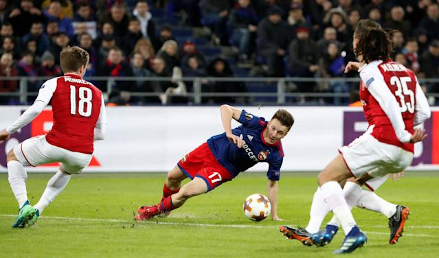 Soccer Football - Europa League Quarter Final Second Leg - CSKA Moscow v Arsenal - VEB Arena, Moscow, Russia - April 12, 2018 CSKA Moscow's Aleksandr Golovin in action with Arsenal's Nacho Monreal REUTERS/Grigory Dukor