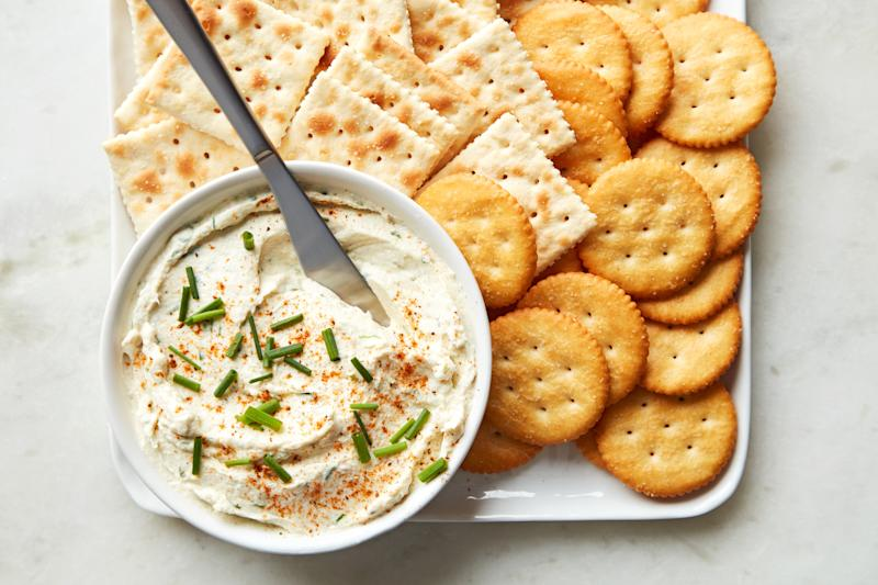 An old-school spread like this trout and cream cheese mixture deserves some old-school butter crackers like Ritz.
