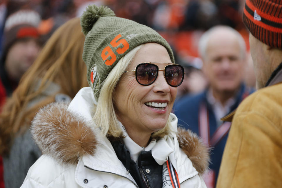 Cleveland Browns co-owner Dee Haslam is shown before an NFL football game between the Miami Dolphins and the Cleveland Browns, Sunday, Nov. 24, 2019, in Cleveland. (AP Photo/Ron Schwane)