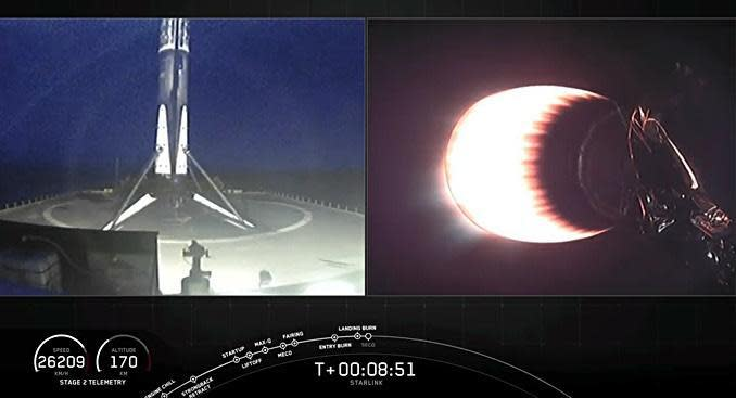 In side-by-side views from SpaceX, the Falcon 9's first stage, at left, is seen moments after a pinpoint landing on the droneship