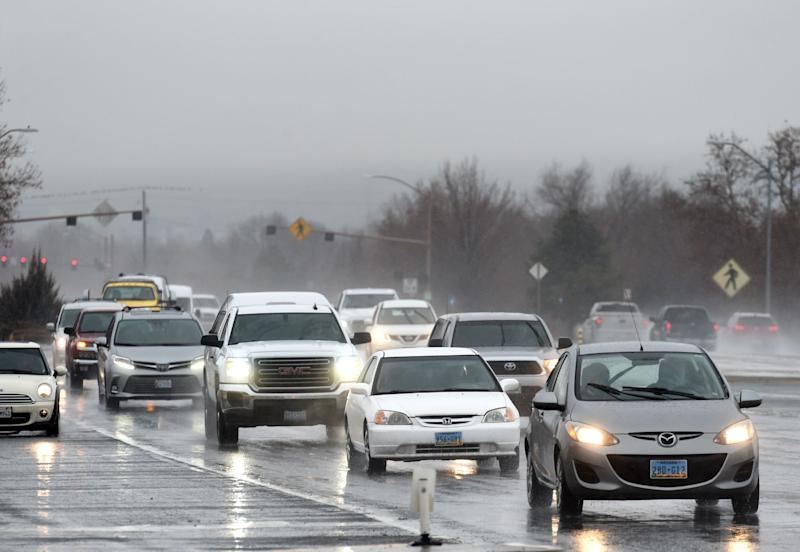 South bound traffic moves on Sparks Blvd on a rainy Wednesday morning in Reno on Feb. 13, 2019.