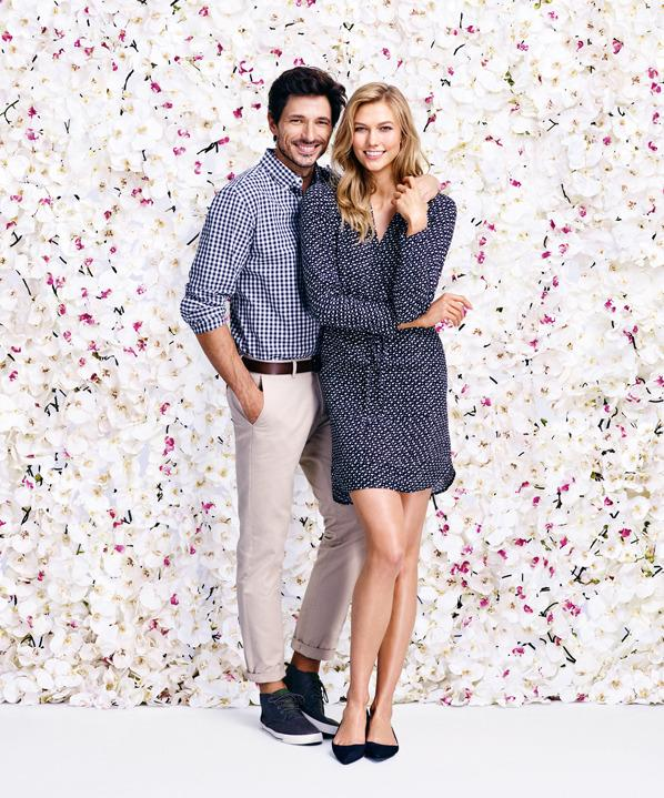 Models Andres Velencoso and Karlie Kloss in the new Joe Fresh campaign.
