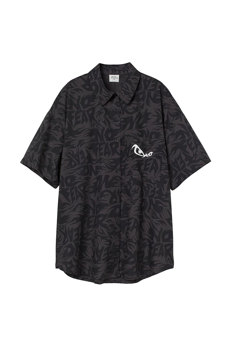<p>The nice thing about this <span>No Fear x H&amp;M Oversized Shirt</span> ($18) is that there are a few ways to wear it. You can leave it all the way buttoned, unbutton it and show off your crop top underneath, or even button it half way and tie the bottom in a knot.</p>