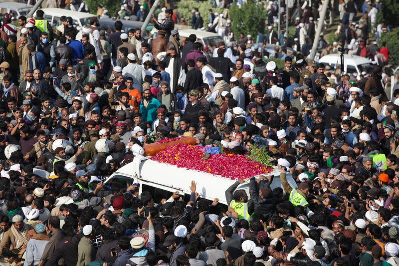 Funeral services for Khadim Hussain Rizvi, leader of religious and political party, amid coronavirus disease (COVID-19) outbreak in Lahore,