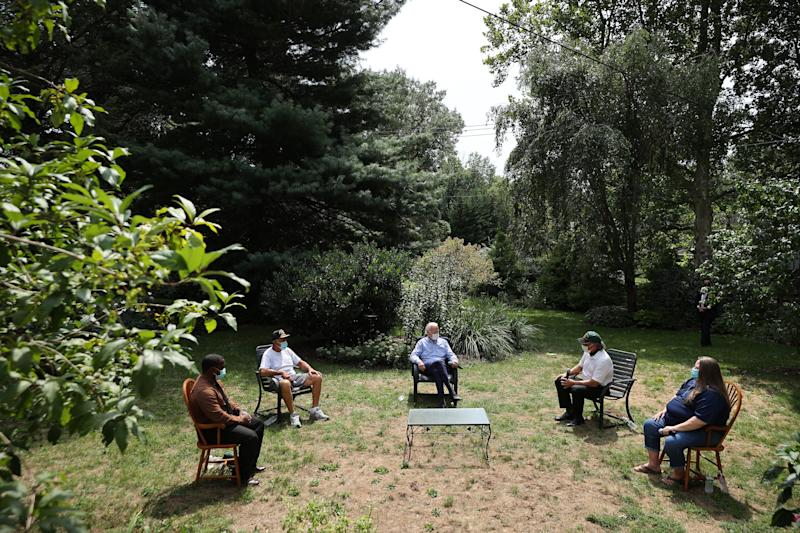 Democratic presidential nominee Joe Biden meets with veterans and union leaders in the backyard of a supporter on Labor Day September 07, 2020 in Lancaster, Pennsylvania.