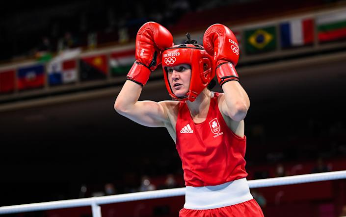 Tokyo , Japan - 30 July 2021; Kellie Harrington of Ireland during her women's lightweight round of 16 bout with Rebecca Nicoli of Italy at the Kokugikan Arena during the 2020 Tokyo Summer Olympic Games in Tokyo, Japan. (Photo By Stephen McCarthy/Sportsfile via Getty Images)
