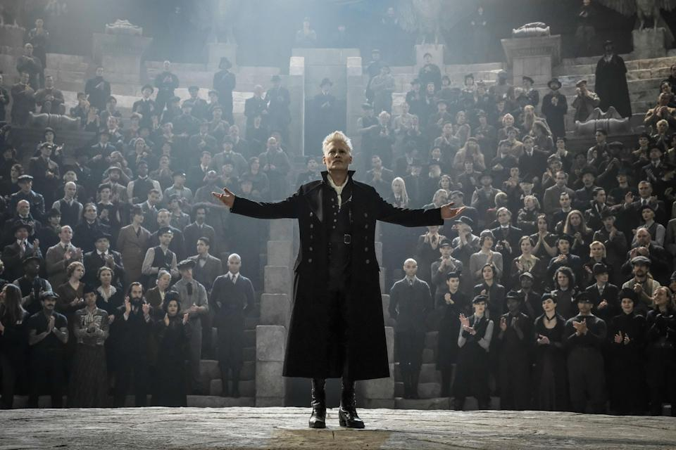 Grindelwald (Depp) rallies his true believers in <em>Fantastic Beasts: The Crimes of Grindelwald</em> (Photo: Jaap Buitendijk/Warner Bros. Entertainment Inc./Courtesy Everett Collection