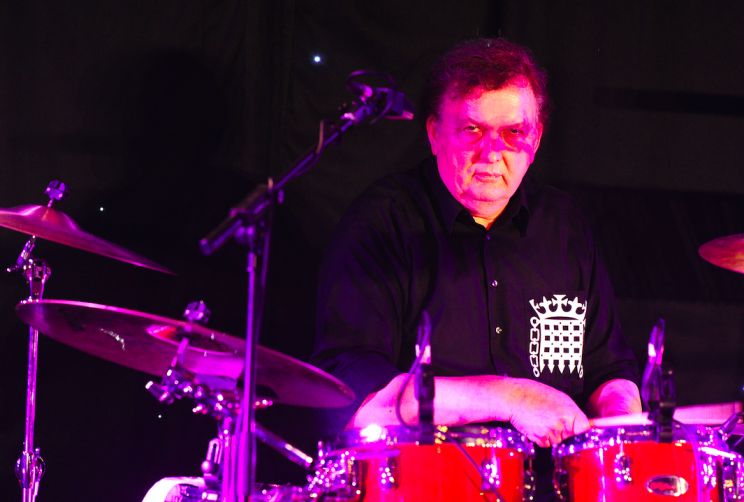 Sir Greg Knight on the drums for MP4 (Picture: PA)