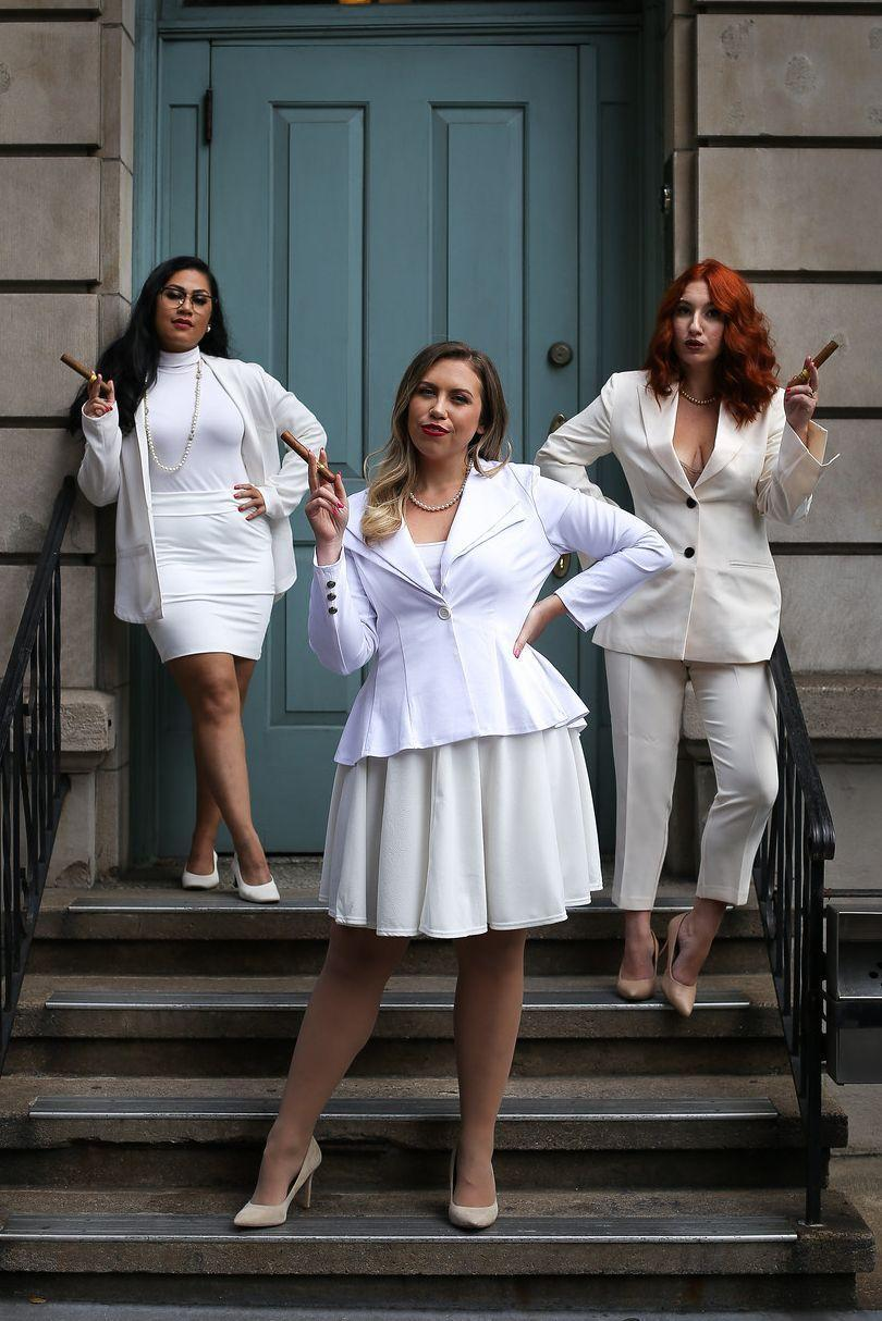 """<p>All you need is a group of three and some all-white ensembles to take on Elise, Brenda, and Annie from <em>The First Wives Club</em>.</p><p><a href=""""https://livingaftermidnite.com/2019/10/group-halloween-costumes-that-will-win-you-best-dressed.html"""" rel=""""nofollow noopener"""" target=""""_blank"""" data-ylk=""""slk:Get the tutorial at Living After Midnite"""" class=""""link rapid-noclick-resp""""><em><strong>Get the tutorial at Living After Midnite</strong></em></a><strong>.</strong></p>"""