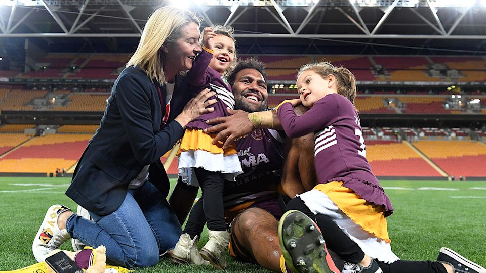 Seen here, Sam and Rachel Thaiday with their two daughters at Suncorp Stadium.