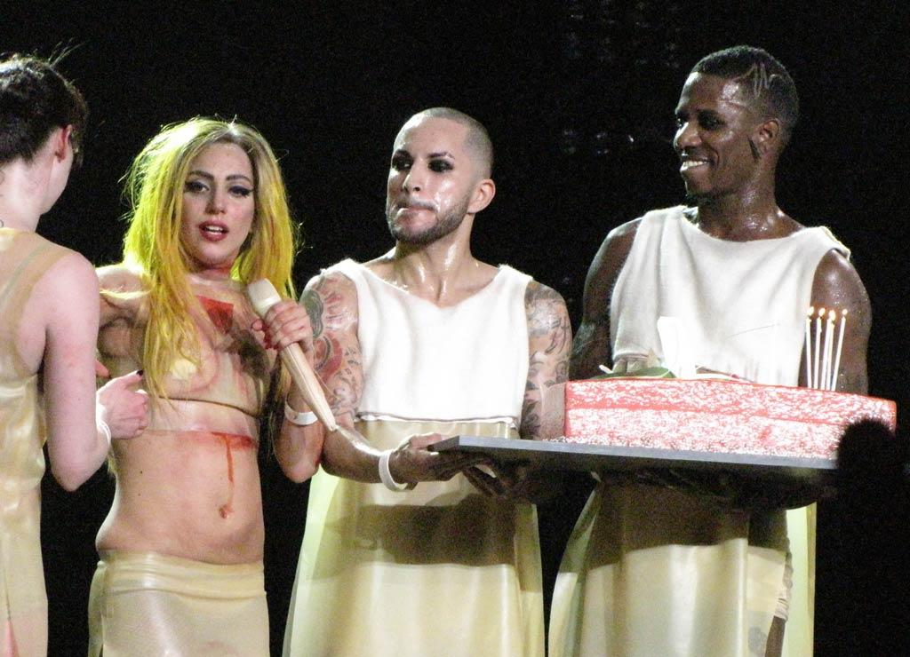 """Lady Gaga celebrated her 25th birthday with 20,000 of her closest friends -- her screaming Little Monsters -- at her Los Angeles concert Monday night. At the end of the evening, the """"Paparazzi"""" singer's dancers surprised her with a birthday cake. Always ready to share the love, Gaga told the audience that <i>they</i> were her favorite gift. """"Thank you for the best birthday present you could give me. Thank you for still buying tickets to my show. Thank you for believing in my music."""" London Entertainment/<a href=""""http://www.splashnewsonline.com"""" target=""""new"""">Splash News</a> - March 28, 2011"""