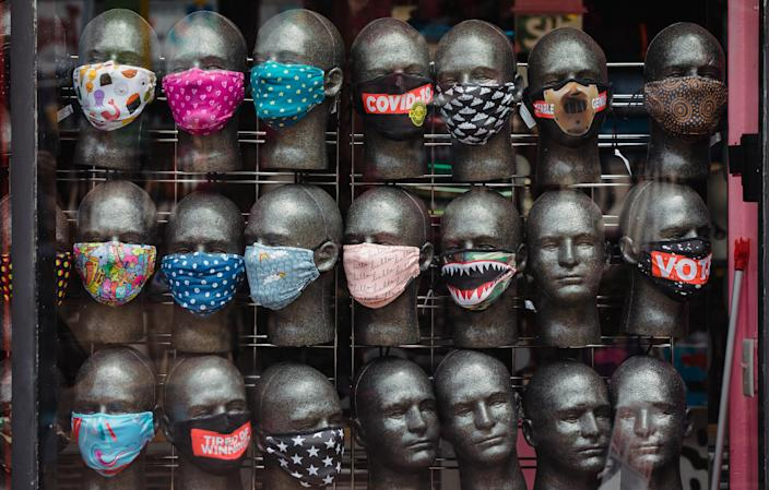 Face masks on display in a store in the Little Five Points neighborhood of Atlanta, July 6, 2020. (Dustin Chambers/New York Times)