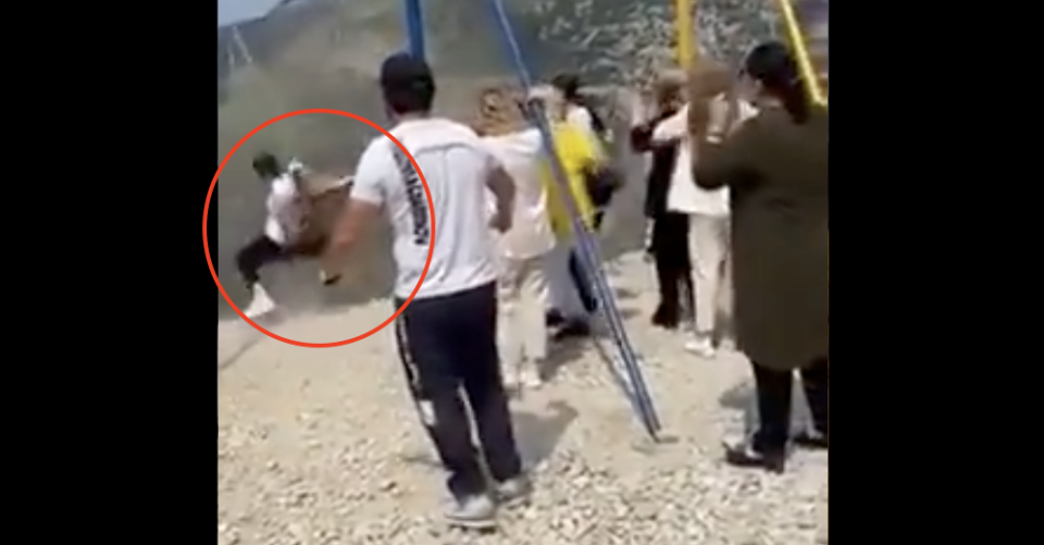 Chilling video: Two women fall off 6300 ft cliff while taking a swing ride (Screenshot)