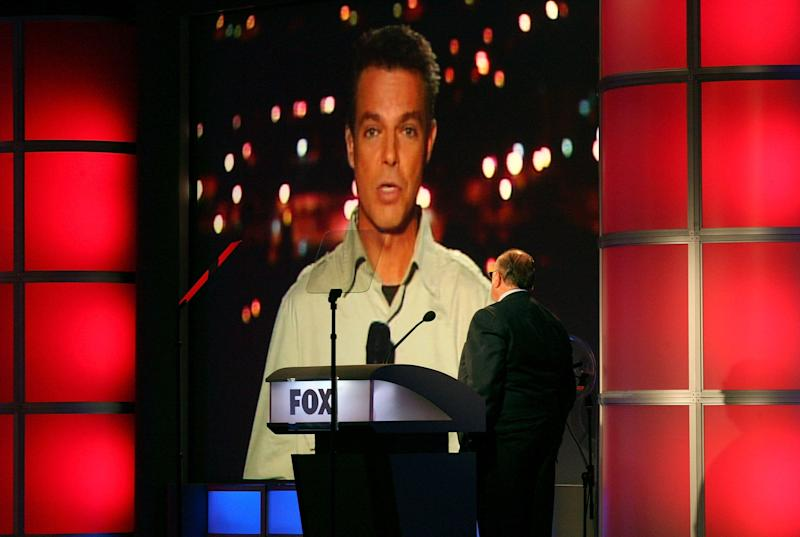 PASADENA, CA - JULY 24: Chairman & CEO, FOX News Roger Ailes (R) and (via satellite from Kiryat Shmona, Israel) anchor Shepard Smith from 'Fox News' speak during the 2006 Summer Television Critics Association Press Tour for the FOX Broadcasting Company at the Ritz-Carlton Huntington Hotel on July 24, 2006 in Pasadena, California. (Photo by Frederick M. Brown/Getty Images)