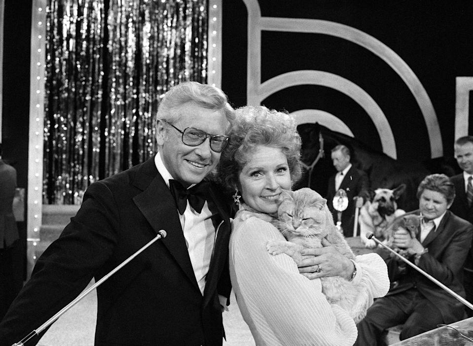 <p>Since both Allen and Betty worked in the entertainment business, they often collaborated. Here, they present together at the PATSY Awards in 1974. </p>