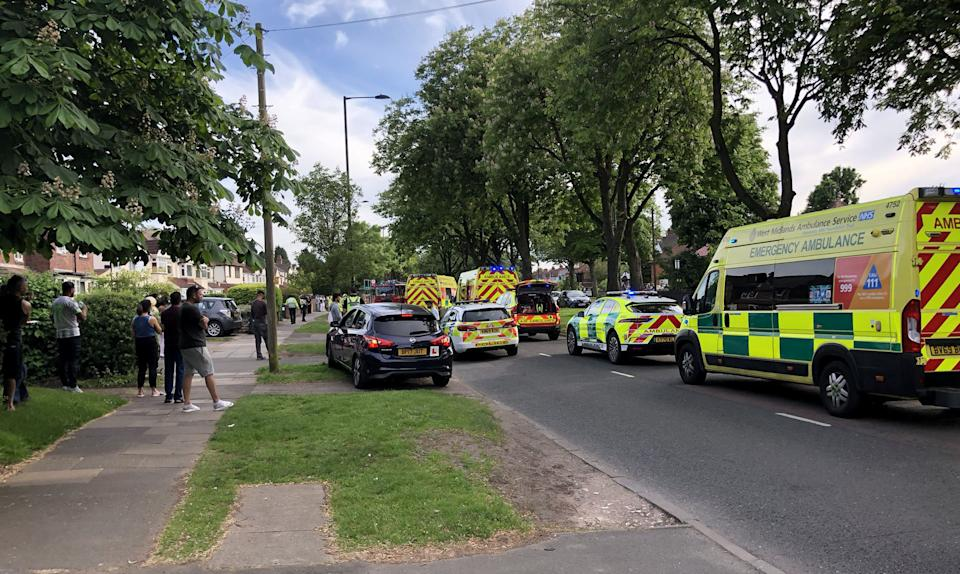 A man and a woman have been killed after a car ploughed into their motorbike in a suspected hit-and-run. See SWNS story SWMDdeaths. A man and a woman have been killed after a car ploughed into their motorbike in a suspected hit-and-run. The horrific crash happened on Fox Hollies Road in Acocks Green, Birmingham, at 5.45pm on Saturday (5/6). Paramedics dashed to the scene but the couple were pronounced dead. The victims were hit by a blue Saab which fled the scene but was later found by police nearby.