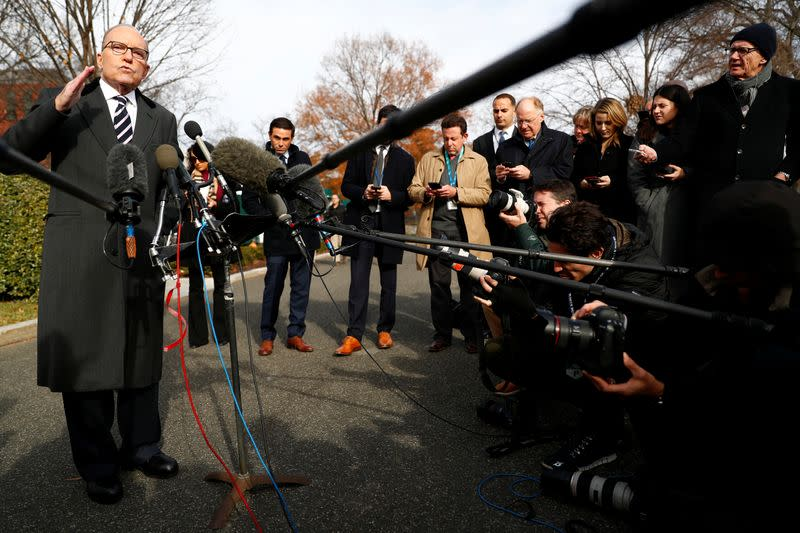 U.S. Director of the Economic Council Larry Kudlow speaks to the media outside the West Wing of the White House in Washington