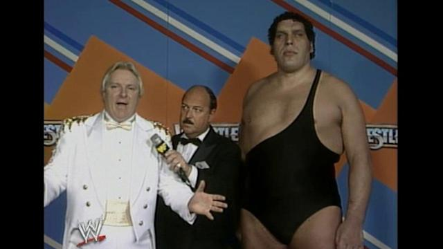 Heenan with Andre The Giant at Wrestlemania 3
