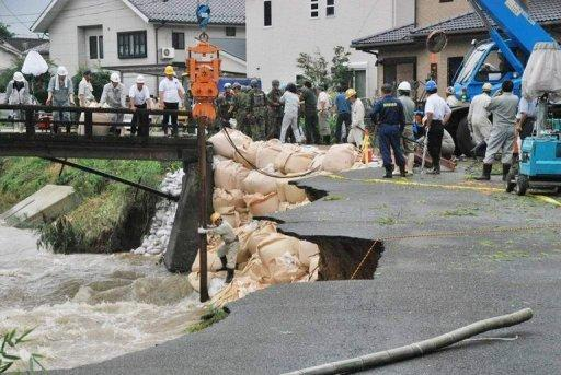 Meteorologists have warned further downpours in northern Kyushu could trigger more landslides